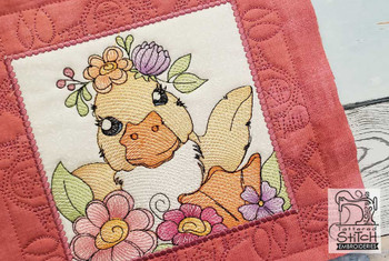 "Farm Animals - Duckling Quilt Block #4  - Fits a 5x5"", 6x6"", 7x7"", 8x8"" & 10x10""  Hoop - Machine Embroidery Designs"