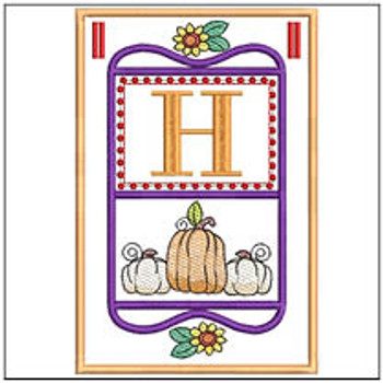 "Fall Folk ABCs Bunting - H - Fits a   5x7""Hoop - Machine Embroidery Designs"