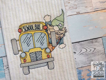 "Bus Driver Gnome - Fits a  4x4"", 5x7"" &  8x8"" Hoop - Machine Embroidery Designs"