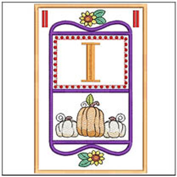 "Fall Folk ABCs Bunting - I - Fits a   5x7""Hoop - Machine Embroidery Designs"
