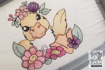 "Girl Duckling- Fits a  4x4"", 5x7"" &  8x8"" Hoop - Machine Embroidery Designs"