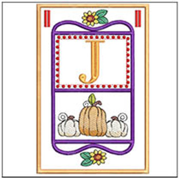 "Fall Folk ABCs Bunting - J - Fits a   5x7""Hoop - Machine Embroidery Designs"