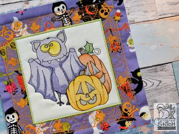 "Monster Bat 2 Quilt Block-Fits a  5x5"", 6x6"", 7x7"", 8x8"" & 10x10""  Hoop - Machine Embroidery Designs"