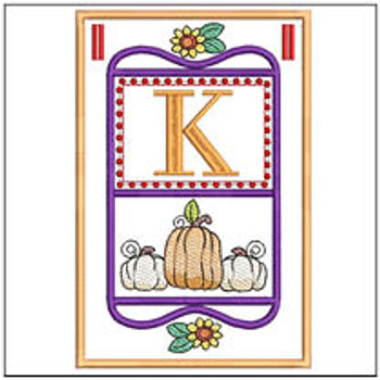 "Fall Folk ABCs Bunting - K - Fits a   5x7""Hoop - Machine Embroidery Designs"