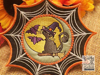 "Black Cat Web Coaster - Fits in a 5x7"" Hoop - Instant Downloadable Machine Embroidery"