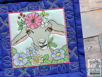 "Farm Animals - Goat Quilt Block #5  - Fits a 5x5"", 6x6"", 7x7"", 8x8"" & 10x10""  Hoop - Machine Embroidery Designs"