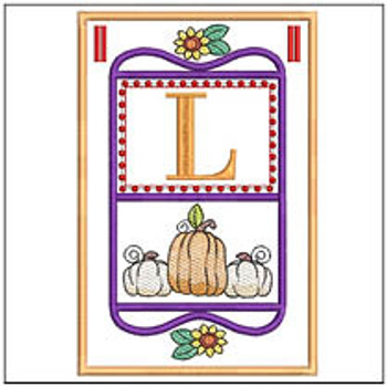 "Fall Folk ABCs Bunting - L - Fits a   5x7""Hoop - Machine Embroidery Designs"