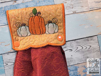 "Pumpkins Towel Topper - Fits a 5x7""  Hoop - Machine Embroidery Designs"
