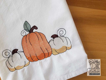 "3 Pumpkins- Fits a  4x4"" & 5x7"" Hoop - Machine Embroidery Designs"