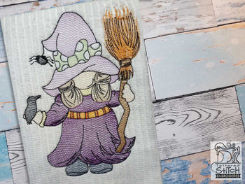 "Witchey Gnome- Fits a  4x4"", 5x7"" &  8x8"" Hoop - Machine Embroidery Designs"