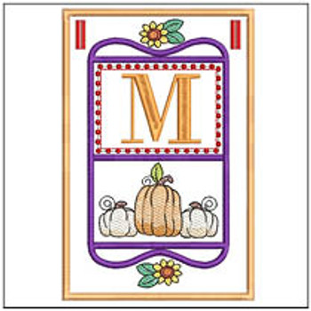 "Fall Folk ABCs Bunting - M - Fits a   5x7""Hoop - Machine Embroidery Designs"