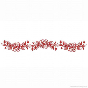 Sketched Floral Border Redwork - Embroidery Designs