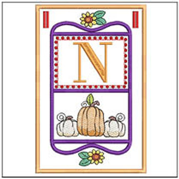 "Fall Folk ABCs Bunting - N - Fits a   5x7""Hoop - Machine Embroidery Designs"