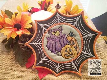 "Monster Bat Web Coaster - Fits in a 5x7"" Hoop - Instant Downloadable Machine Embroidery"