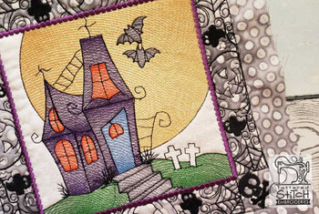 "Haunted House Quilt Block-Fits a  5x5"", 6x6"", 7x7"", 8x8"" & 10x10""  Hoop - Machine Embroidery Designs"