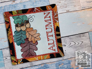 "Acorn Spray Autumn Coaster- Fits a 5x7"" Hoop - Machine Embroidery Designs"