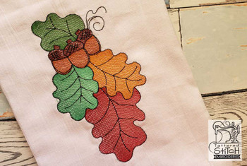 "Vertical Acorn Spray - Fits a 4x4, 5x7"" & 6x10"" Hoop - Machine Embroidery Designs"