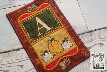 "Fall Folk ABCs Bunting - Q - Fits a   5x7""Hoop - Machine Embroidery Designs"