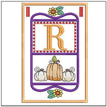 "Fall Folk ABCs Bunting - R - Fits a   5x7""Hoop - Machine Embroidery Designs"