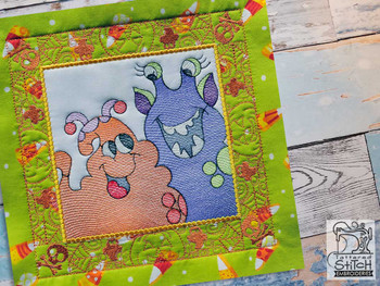 "Monster Pals Quilt Block-Fits a  5x5"", 6x6"", 7x7"", 8x8"" & 10x10""  Hoop - Machine Embroidery Designs"