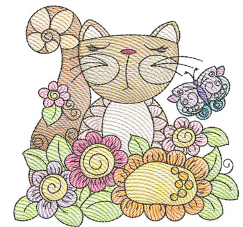 """Cat 1 (No Quilt Block Background) -Fits a  4x4"""", 5x7""""&  8x8"""" Hoop - Machine Embroidery Designs"""