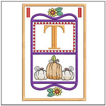 "Fall Folk ABCs Bunting - T - Fits a   5x7""Hoop - Machine Embroidery Designs"