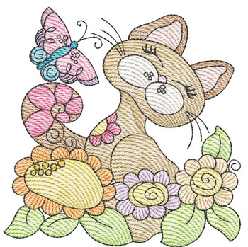 """Cat 2 (No Quilt Block Background) -Fits a  4x4"""", 5x7""""&  8x8"""" Hoop - Machine Embroidery Designs"""