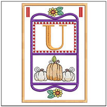 "Fall Folk ABCs Bunting - U - Fits a   5x7""Hoop - Machine Embroidery Designs"