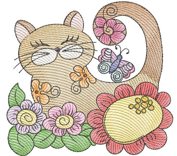 """Cat 3 (No Quilt Block Background) -Fits a  4x4"""", 5x7""""&  8x8"""" Hoop - Machine Embroidery Designs"""