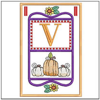 "Fall Folk ABCs Bunting - V - Fits a   5x7""Hoop - Machine Embroidery Designs"