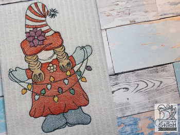 "Gnome with Lights - Fits a  4x4"", 5x7"" &  8x8"" Hoop - Machine Embroidery Designs"