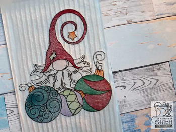 "Gnome with Ornaments - Fits a  4x4"", 5x7"" &  8x8"" Hoop - Machine Embroidery Designs"