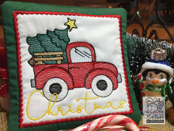 "Red Truck Christmas Coaster - Fits a 5x7"" Hoop - Machine Embroidery Designs"