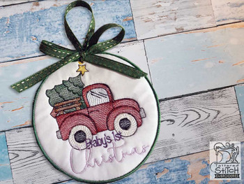 """Baby's First Christmas Ornament - Fits a 5x7"""" Hoop - Machine Embroidery Designs"""
