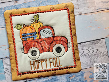 "Fall Truck  Coaster - Fits a 5x7"" Hoop - Machine Embroidery Designs"