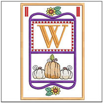 "Fall Folk ABCs Bunting - W - Fits a   5x7""Hoop - Machine Embroidery Designs"