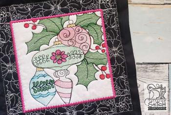 "Ornament Trio Quilt Block #1 - Fits a  5x5"", 6x6"", 7x7"", 8x8"" & 10x10""  Hoop - Machine Embroidery Designs"