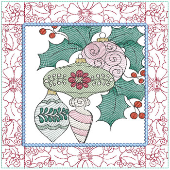 "Ornament Trio Quilt Block #1 - Fits a  5x5"", 6x6"", 7x7"", 8x8"" & 10x10""  Hoop - Machine Embroidery Designs"