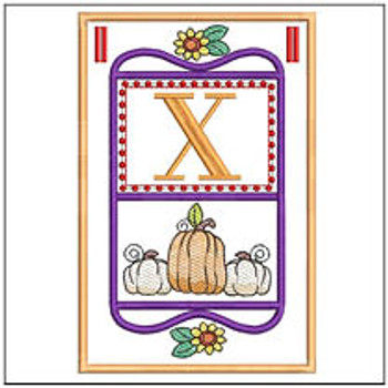 "Fall Folk ABCs Bunting - X - Fits a   5x7""Hoop - Machine Embroidery Designs"