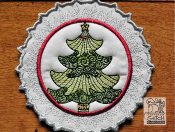 "Tree Snowflake Coaster - Fits a 5x7"" Hoop - Machine Embroidery Designs"