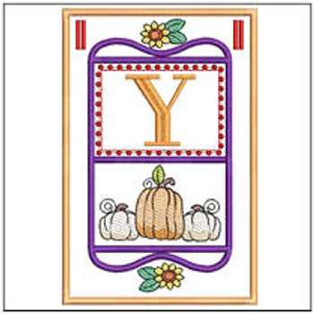 "Fall Folk ABCs Bunting - Y - Fits a   5x7""Hoop - Machine Embroidery Designs"