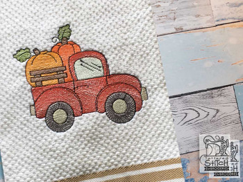 "Little Red Truck with Pumpkins - Fits a 4x4, 5x7"" & 8x8""  Hoop - Machine Embroidery Designs"