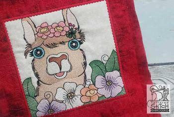 "Farm Animals - Llama Quilt Block #6  - Fits a 5x5"", 6x6"", 7x7"", 8x8"" & 10x10""  Hoop - Machine Embroidery Designs"