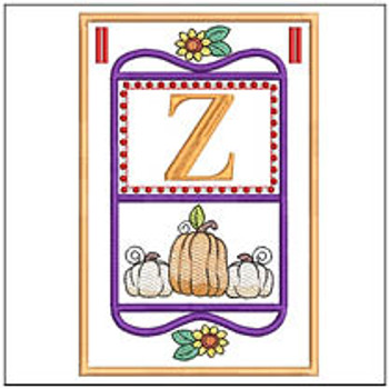 "Fall Folk ABCs Bunting - Z - Fits a   5x7""Hoop - Machine Embroidery Designs"