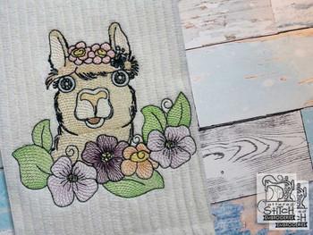 "Llama (No QB Background)  - Fits a 4x4"",5x7 & 8x8"" Hoop - Machine Embroidery Designs"