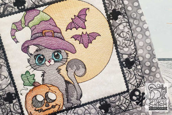 "Halloween Kitty Quilt Block-Fits a  5x5"", 6x6"", 7x7"", 8x8"" & 10x10""  Hoop - Machine Embroidery Designs"