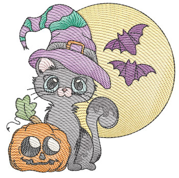 "Halloween Kitty (Cat Only - No QB BKG) -Fits a  4x4"", 5x7"" &  8x8"" Hoop - Machine Embroidery Designs"
