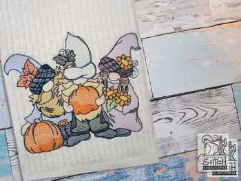 "3 Fall Gnomes - Fits a  4x4"", 5x7"" &  8x8"" Hoop - Machine Embroidery Designs"
