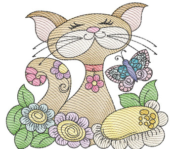 """Cat 4 (No Quilt Block Background) -Fits a  4x4"""", 5x7""""&  8x8"""" Hoop - Machine Embroidery Designs"""