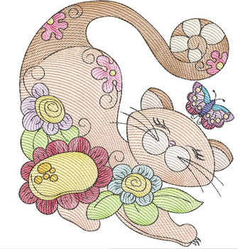 """Cat 5 (No Quilt Block Background) -Fits a  4x4"""", 5x7""""&  8x8"""" Hoop - Machine Embroidery Designs"""